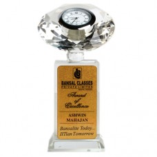 Crystal With Clock SG Memento - 6 inch
